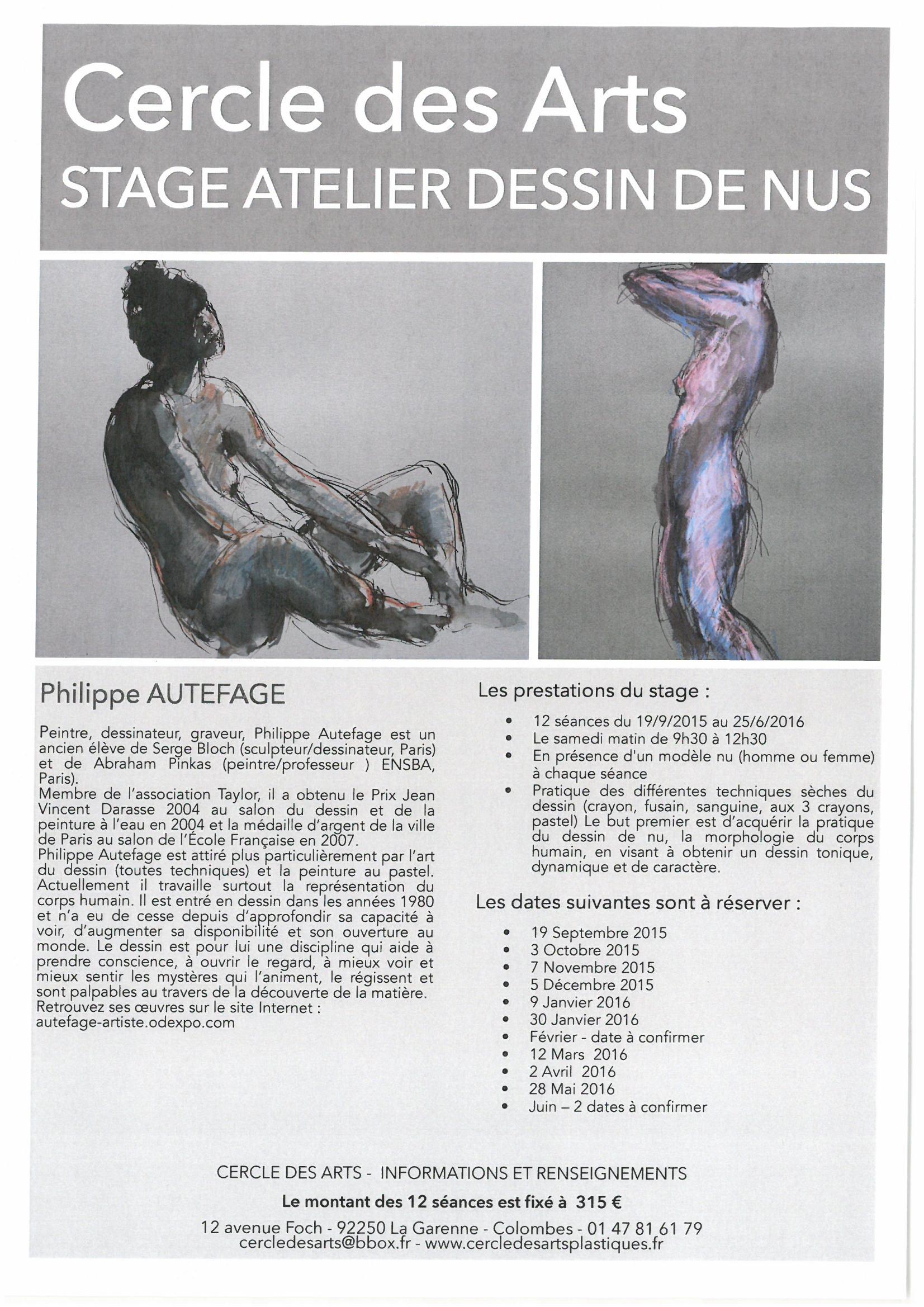 «Stage de dessin de nus» nouveauté saison 2015-2016